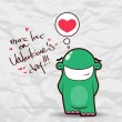 Valentines day greeting card with funny cartoon alien and heart on a paper-background. — Vecteur