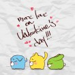 Valentines day greeting card with funny cartoon animals and hearts on a paper-background. - Stock Vector