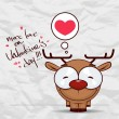 Valentines day greeting card with funny cartoon deer and heart on a paper-background. — Vector de stock