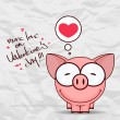 Valentines day greeting card with funny cartoon piggy and heart on a paper-background. — Vector de stock