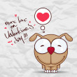 Valentines day greeting card with funny cartoon doggy and heart on a paper-background. — Stok Vektör