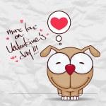 Ευχετήρια κάρτα ημέρα του Αγίου Βαλεντίνου με αστείο καρτούν σκυλάκι και καρδιά σε χαρτί-φόντο — Διανυσματικό Αρχείο