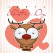 Valentines day greeting card with funny cartoon deer and heart — Stock Vector