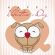 Valentines day greeting card with funny cartoon doggy and heart on a paper-background. - Stok Vektör