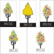 Vector set of illustrations with abstract trees — Stock Vector
