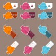 Vector set of tags and stickers with tropical fishs. - 图库矢量图片