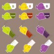 Vector set of tags and stickers with tropical fishs. - Stock Vector