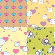 Set of vector seamless textures with cartoon animals. - Stock Vector