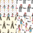 Vector set of seamless patterns with fashion girls. — Stock Vector