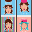 Vector set of abstract illustrations of beautiful girl head. — Vektorgrafik