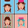Vector set of abstract illustrations of beautiful girl head. — Stock Vector