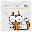 Funny cartoon kitty. Vector illustration. - Stockvektor