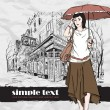 Autumnal fashion girl with umbrella on a street-cafe background. Vector illustrator. Place for your text. — Stock Vector
