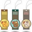 Set of tags with cartoon dog.Vector illustration. — Stok Vektör