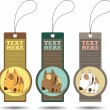 Set of tags with cartoon dog.Vector illustration. — Stockvektor