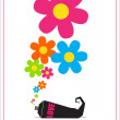 Abstract vector illustration with tube and flowers. — Векторная иллюстрация