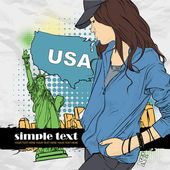 Beautiful girl with cap in sketch-style on a usa-background. Vector illustration. Place for your text. — Stock Vector