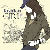 Fashion girl with cap in sketch-style on a city-background. Vector illustration. — Stock Vector