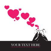 Ilustración vectorial abstracto con volcán y corazones. — Vector de stock