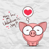 Valentines day greeting card with funny cartoon piggy and heart on a paper-background. — Stock Vector