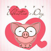 Valentines day greeting card with funny cartoon pig. — Stock Vector