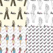 Vector set van naadloze patronen met mode meisjes. — Stockvector