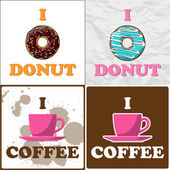 Vector set of coffee-cup and donut illustrations. — Stock Vector
