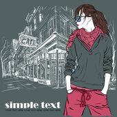 Chica de moda sexy en el estilo de dibujo sobre un fondo de la calle-café. illustrator vectores. — Vector de stock
