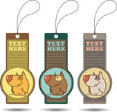 Set of tags with cartoon dog.Vector illustration. — Stock Vector