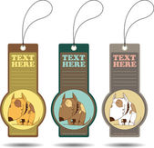 Set of tags with cartoon dog.Vector illustration. — Vector de stock