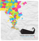 Abstract vector illustration with tube and butterflies. — Stock Vector