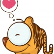 Vector illustration of cute cartoon tiger and heart. - Stockvektor