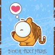 Vector illustration of cute cartoon tiger and heart. - 图库矢量图片