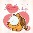 Valentines day greeting card with funny cartoon tiger and heart - Stock Vector