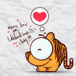Valentines day greeting card with funny cartoon tiger and heart on a paper-background. — Stockvector