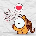 Alla hjärtans dag gratulationskort med rolig tecknad tiger och hjärta på ett papper-bakgrund — Stockvektor