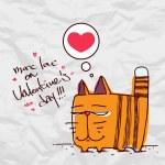 Alla hjärtans dag gratulationskort med rolig tecknad katt och hjärta på ett papper-bakgrund — Stockvektor