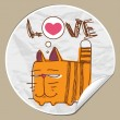 Vector sticker with funny cartoon cat - Image vectorielle