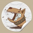 Vector sticker with angry cartoon dog - Imagen vectorial