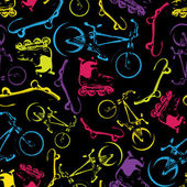 Vector seamless pattern with bicycles,skateboard s and rollers. — Stock Vector