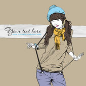 Autumnal fashion girl with beret on a grunge background. Vector illustrator. Place for your text — Stock Vector