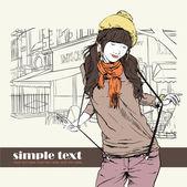 Sexy mode mädchen im stil der skizze auf eine straße-café-hintergrund. vektor illustrator. — Stockvektor