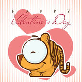 Valentines day greeting card with funny cartoon tiger and heart — Stock Vector