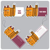 Vector set of tags and stickers with cartoon cat — Vettoriale Stock