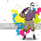 Retro grunge poster with young man. — Stock Vector