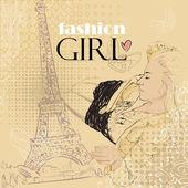 Mooi meisje in schets-stijl op een frans-achtergrond — Stockvector