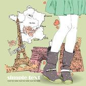 Jong meisje in laarzen op een frans-achtergrond — Stockvector
