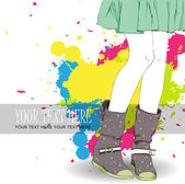 Young girl in boots — Stock Vector