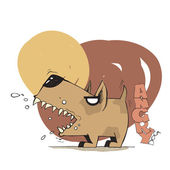 Vector illustration of cute angry dog — Vector de stock