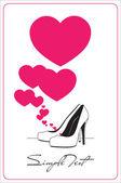 Vector ilustración de un zapatos de tacón alto y corazones. — Vector de stock